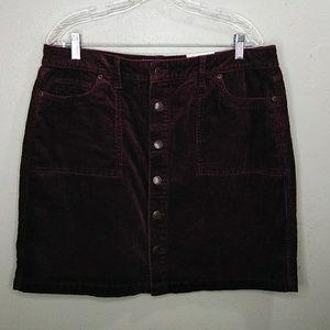 Plum Corduroy Jeans Style Button Front Mini Skirt